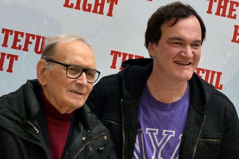 """Morricone finally received an Oscar in 2016 for his score to Quentin Tarantino's """"The Hateful EIght"""" (AFP Photo/TIZIANA FABI)"""