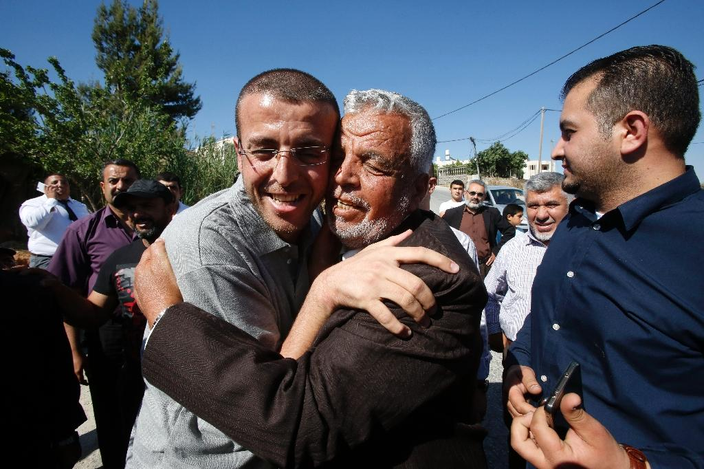 Palestinian journalist Mohammed al-Qiq (L) was released from a six-month prison term without trial in May 2016 following a 94-day hunger strike
