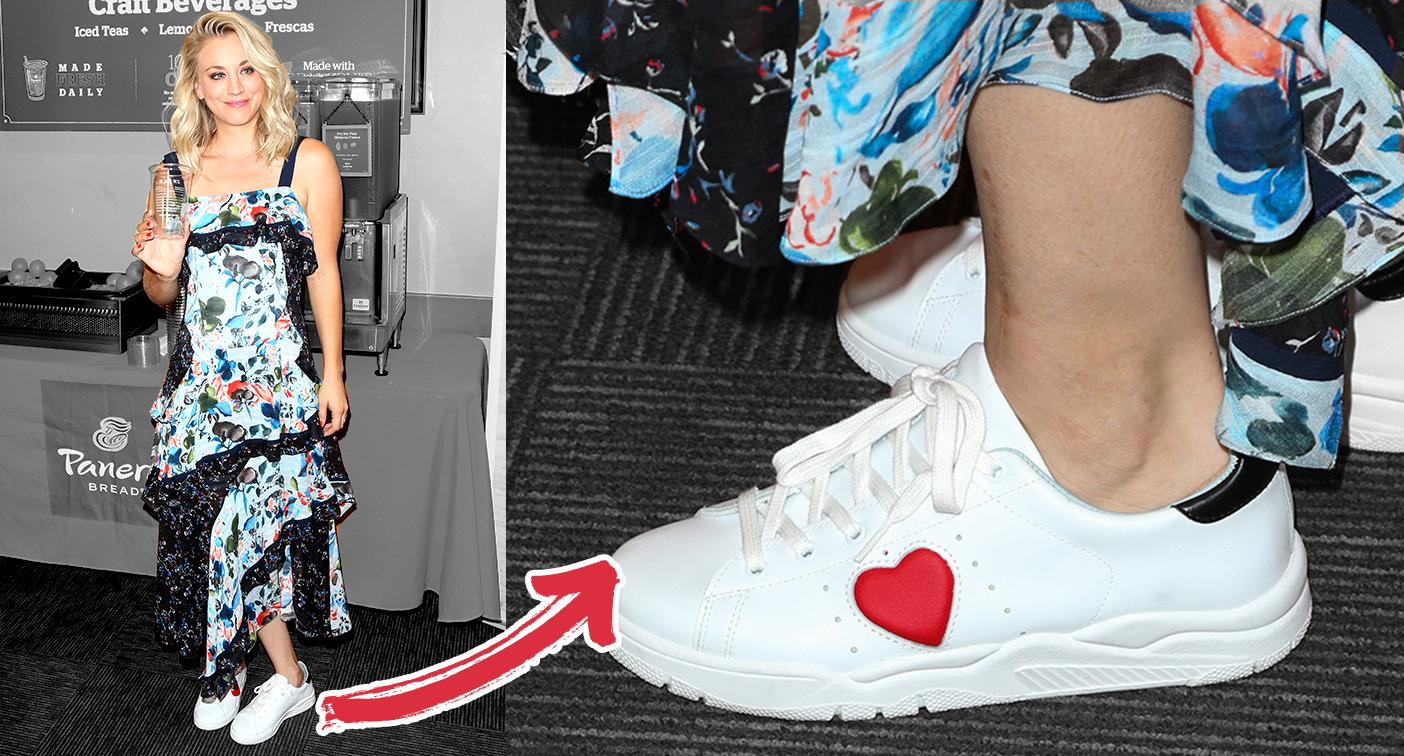 Kaley Cuoco loves pairing sneakers with fancy dresses. (Photo  Getty Images) 287e69ce66b