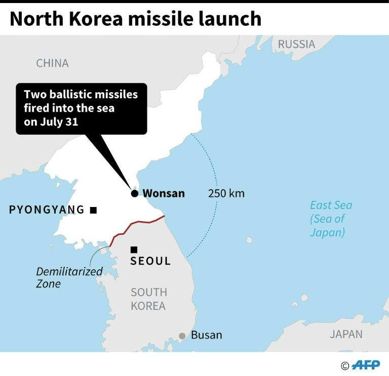 Map showing Wonson on the east coast of North Korea, from where two ballistic missiles were fired into the sea on Wednesday (AFP Photo/)