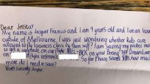 9-year-old's sweet note to airline lands him a business-class upgrade