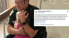 Touching photo of police officer hugging girl he saved goes viral