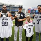 Aaron Judge gets dwarfed for once as WWE stars present him with a title belt