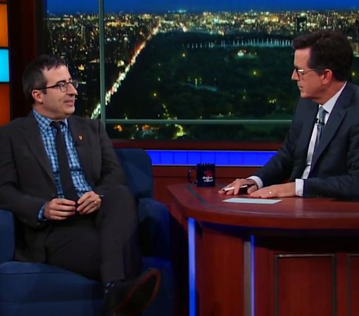 John Oliver Explains His Love for Tim Kaine: 'He Is America's Step-Dad'
