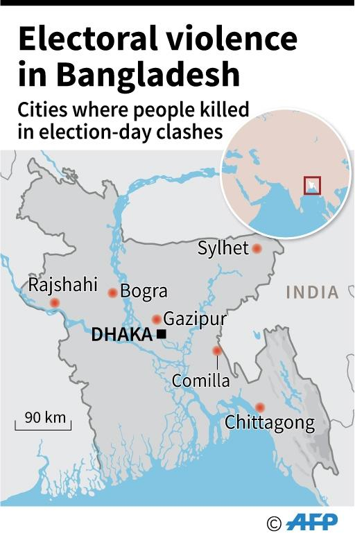Map locating cities in Bangladesh were people were killed during election-day clashes. (AFP Photo/Jean Michel CORNU)