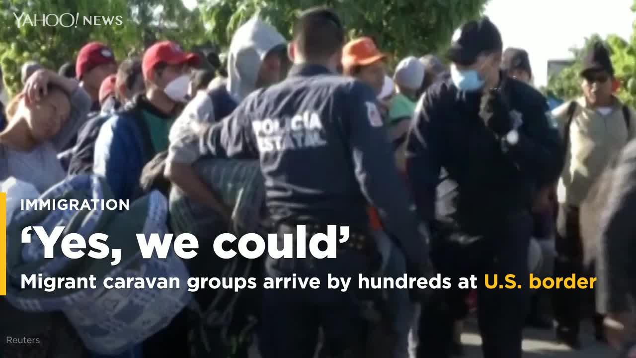 Uu U 2018 >> Migrant caravan groups arrive by hundreds at U.S. border in Tijuana [Video]