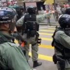 Hong Kong Police Fire Pepper Pellets Towards Protesters