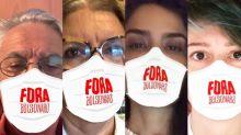 Caetano, Astrid, Nanda, Letícia e mais usam máscara com 'fora Bolsonaro'