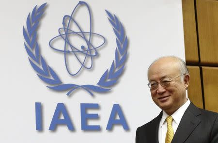 IAEA Director General Amano arrives for a board of governors meeting at the IAEA headquarters in Vienna