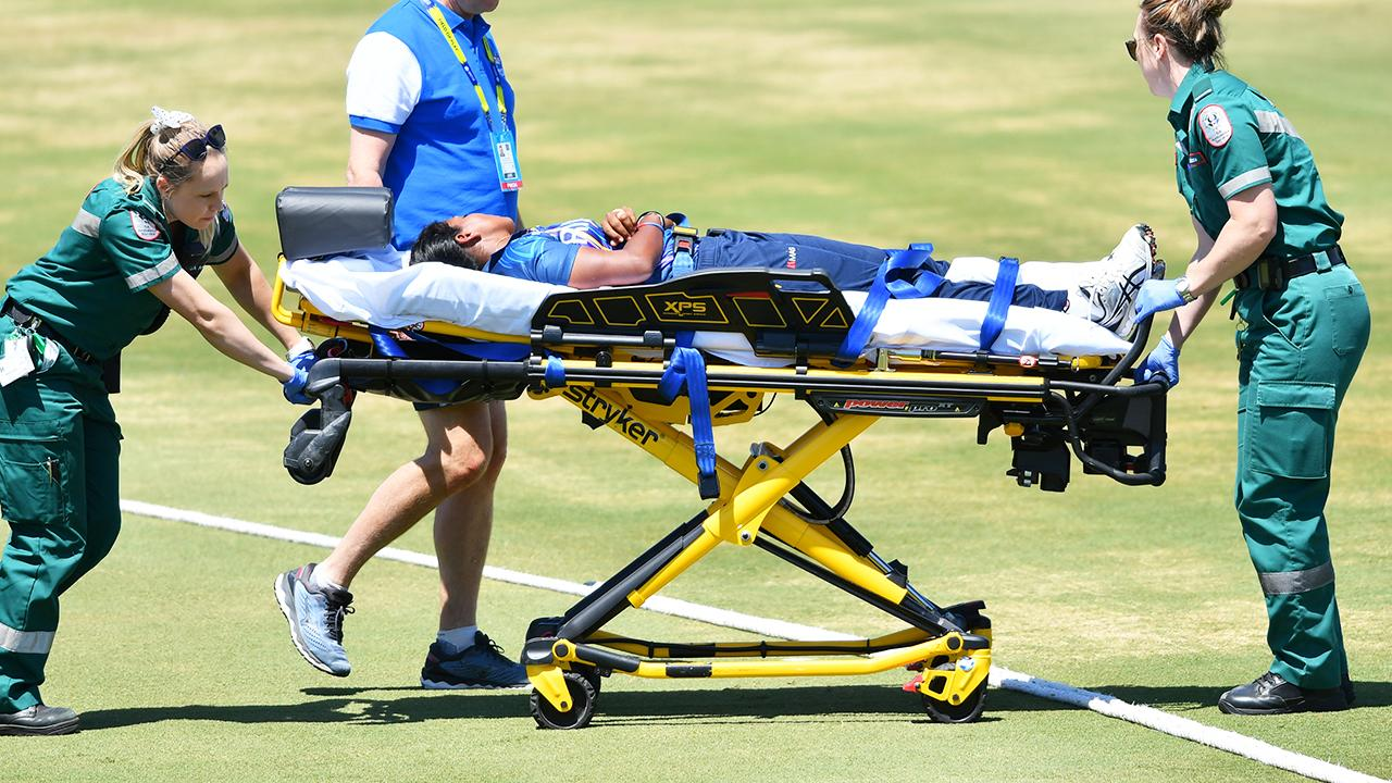 Female cricketer hospitalised after terrifying on-field mishap