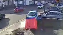 Moment an out of control driver crashed SIX times in a minute