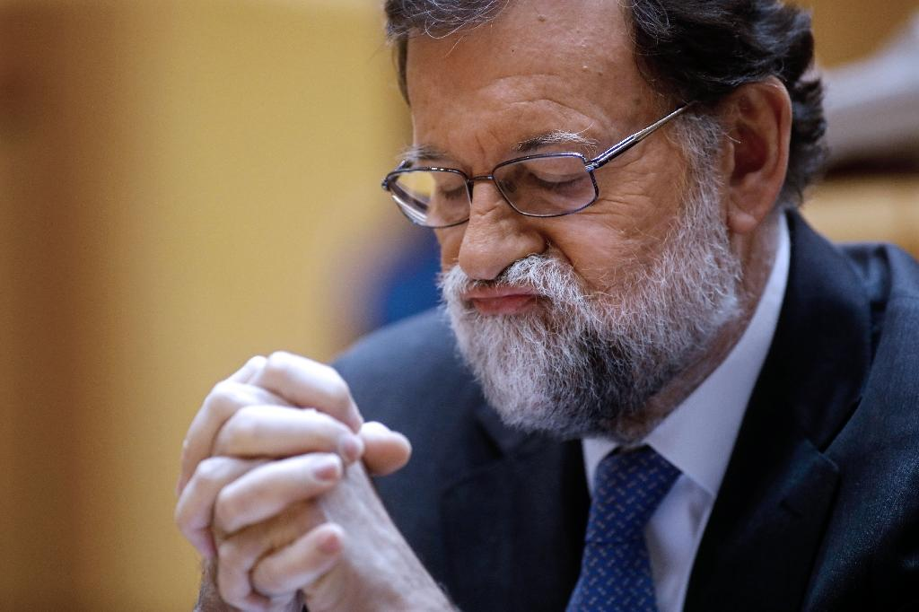 """Ousted Spanish prime minister Mariano Rajoy: """"I want to give Spaniards a message of hope, ETA is a great nation... Spain, sorry, is a great nation"""" (AFP Photo/OSCAR DEL POZO)"""