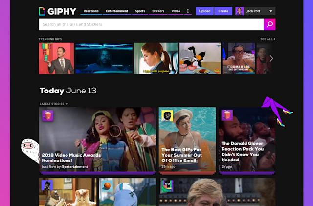 Giphy's redesigned homepage puts GIF Stories in the spotlight