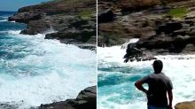 Selfie-seeking couple who ignored warnings about rough surf on cliff-edge swept out to sea