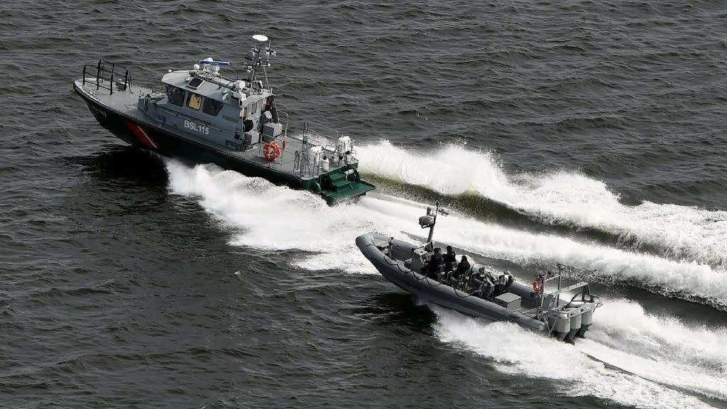 Boats of Finnish Border Guard on patrol in waters near Helsinki, on April 28, 2015