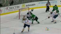 Enroth extends for the pad save on Chiasson