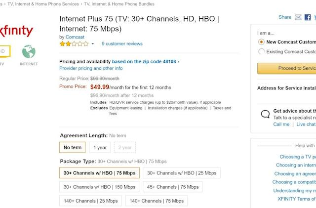 Amazon starts selling Comcast cable TV and internet