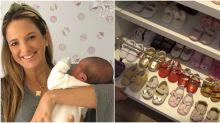 Ticiane Pinheiro revela que a recém-nascida Manuella já tem 42 pares de sapatos