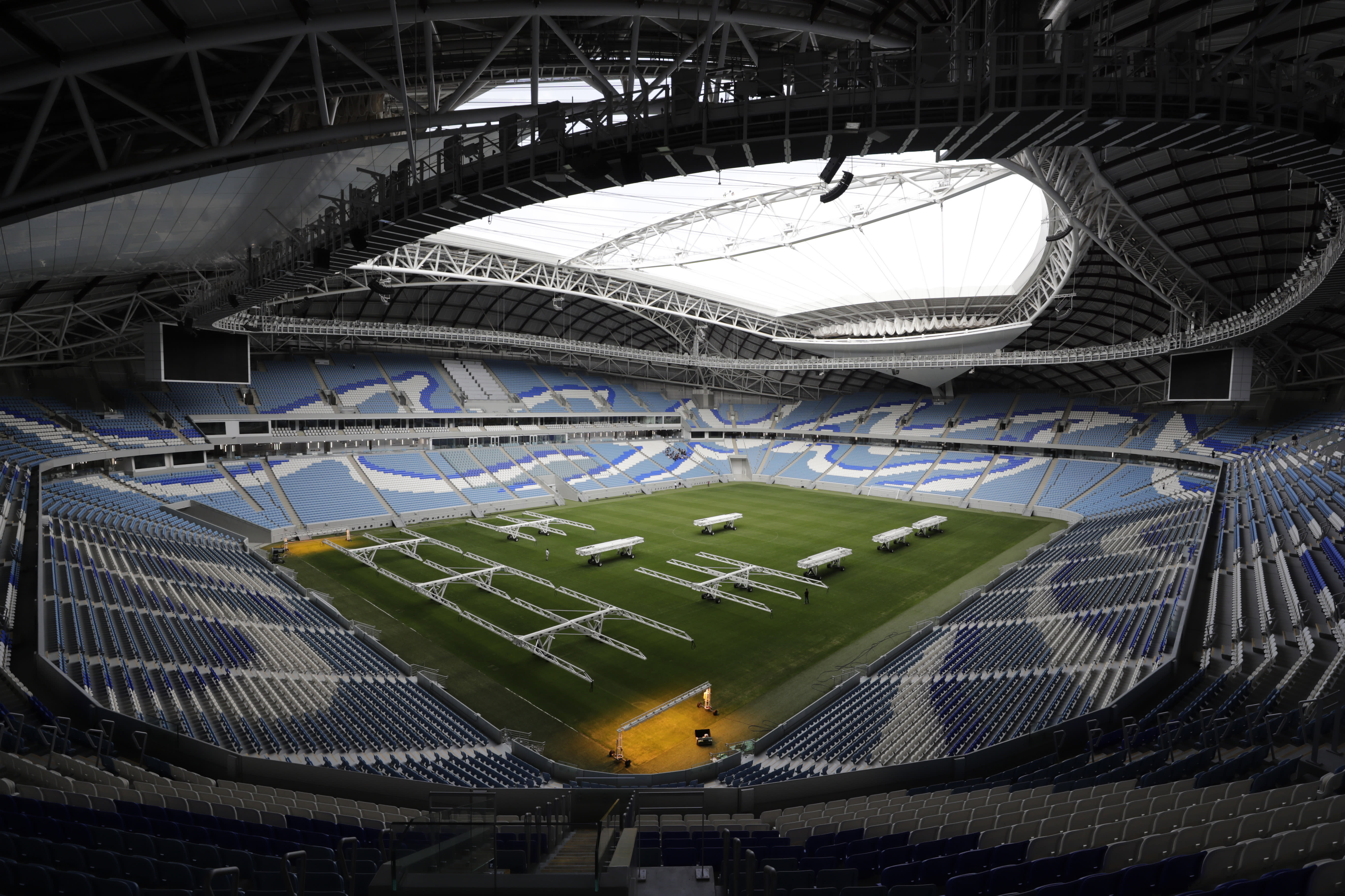 FILE - In this Monday, Dec. 16, 2019 file photo, a view shows the Al Janoub Stadium, one of the 2022 World Cup stadiums, in Doha, Qatar. The 2022 World Cup will open with four games every day in a 12-day group stage and some matches that go into extra time will extend past midnight in Qatar. FIFA on Wednesday July 15, 2020 released the match schedule for the first World Cup to be played across November-December. (AP Photo/Hassan Ammar, File)