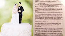 Bride asks wedding guests to pay for food, drinks and a slice of cake
