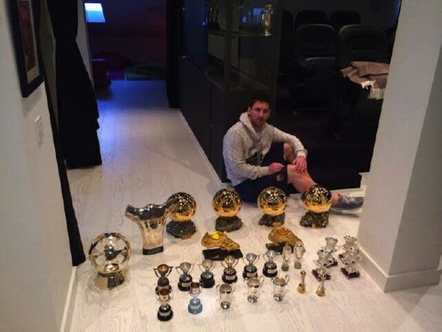 Lionel Messi Poses With 27 Of His Trophies Brother Mocks