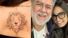 Mari Palma faz tatuagem para homenagear o pai deficiente visual
