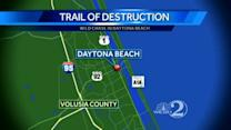 Wanted man creates trail of destruction