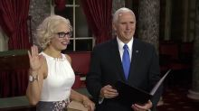 Mike Pence swears in the first openly bisexual senator, Kyrsten Sinema, and Twitter loves it