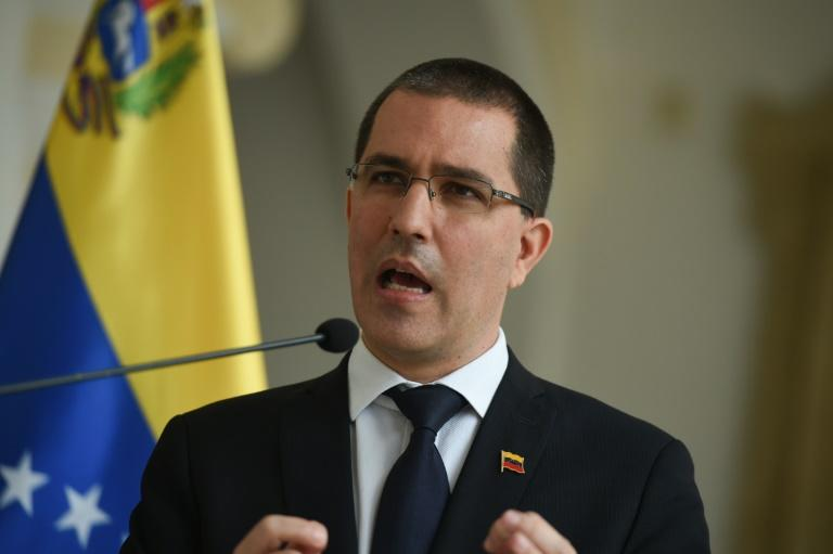 Venezuela's Foreign Minister Jorge Arreaza talking to reporters in Caracas in September 2020
