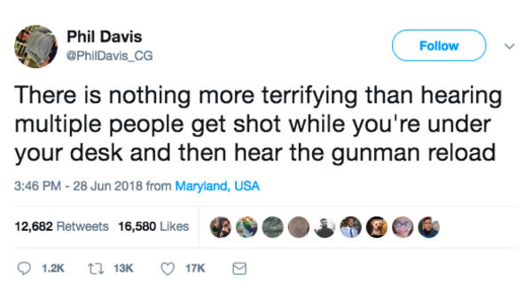 Capital Gazette Journalist Reports Live During Active Shooting