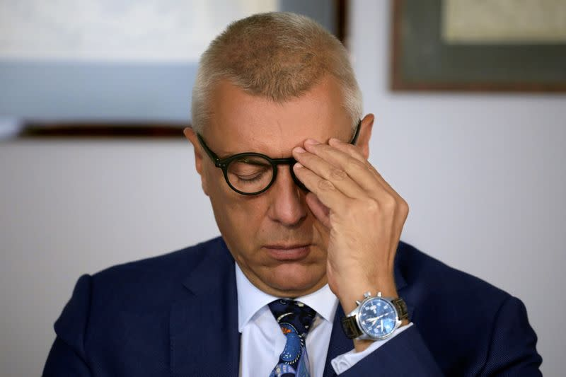 A lawyer and former deputy prime minister Roman Giertych during a press conference in his office in Warsaw