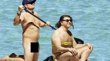 Alan Carr and David Walliams recreate Orlando and Katy's naked paddleboarding moment