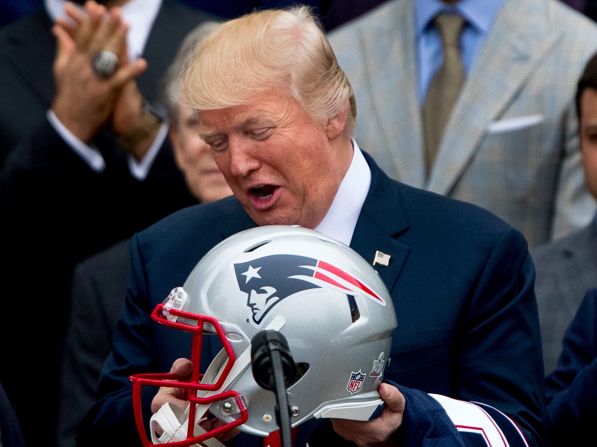 0bec1aec2764  Many people booed   Trump again bashes NFL players for kneeling during the  national anthem