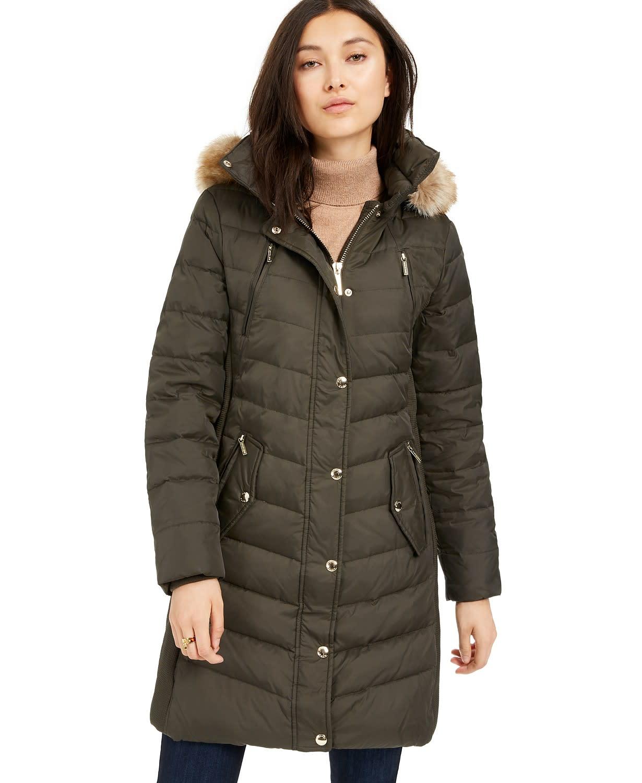 MICHAEL Michael Kors Faux-Fur-Trim Hooded Chevron Down Puffer Coat