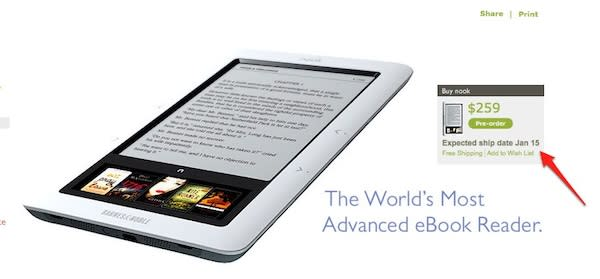 Nook ship date pushed back to January 15th for new pre-orders, no Nooks in stores before Christmas?