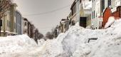 Large snowbanks in Boston. (Getty Images)