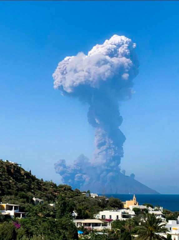 The Stromboli volcano erupted dramatically, as seen from the nearby island of Panarea