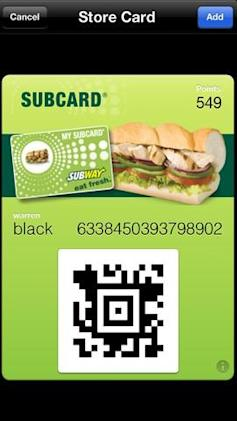 Subway UK restaurant app adds Passbook support
