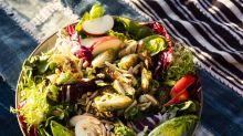 Crispy Brussels Sprouts Salad with Citrus-Maple Vinaigrette
