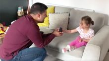 Adorable moment dad proposes to daughter so she also has a ring