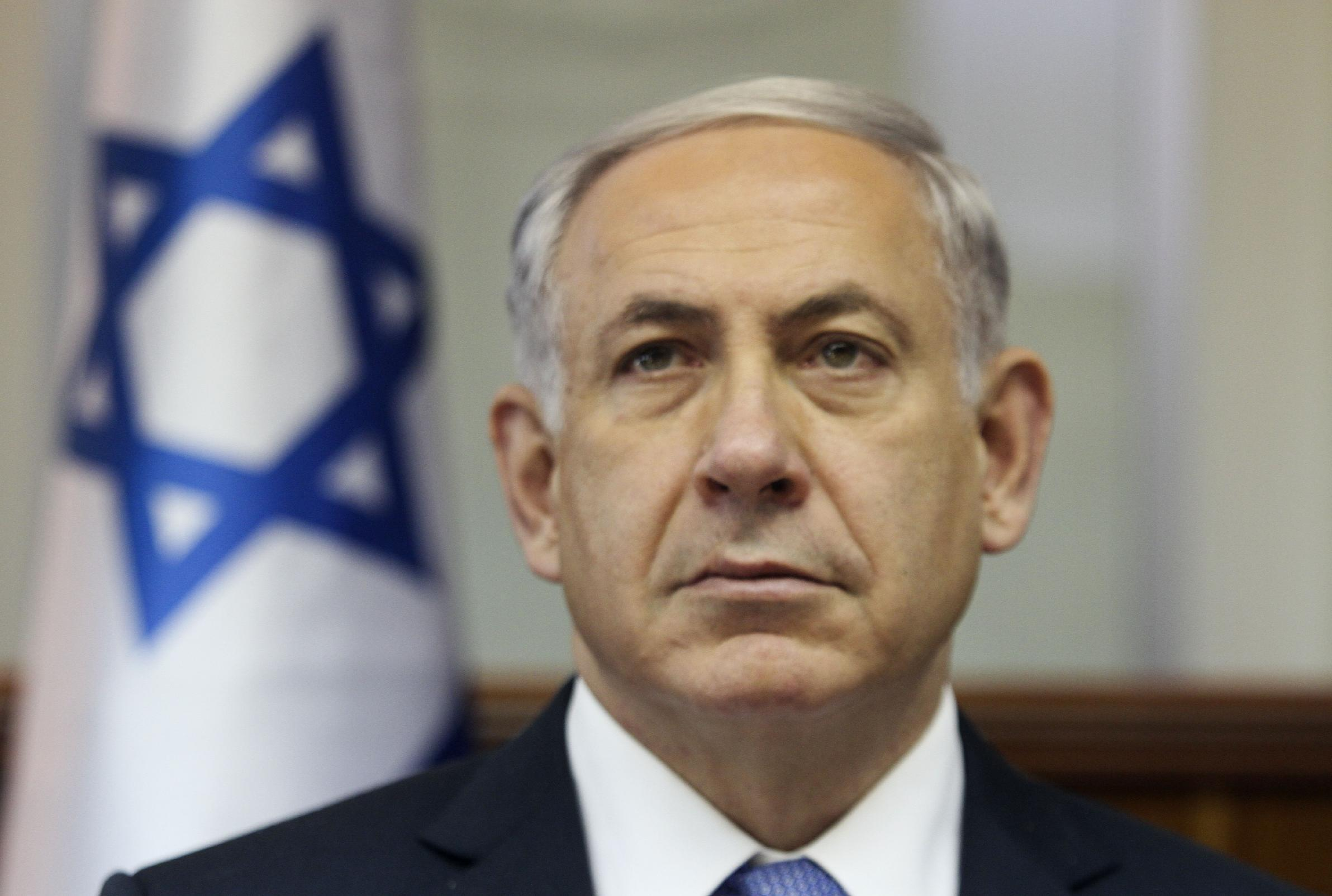 Israeli Prime Minister Benjamin Netanyahu attends a cabinet meeting in Jerusalem on October 7, 2014