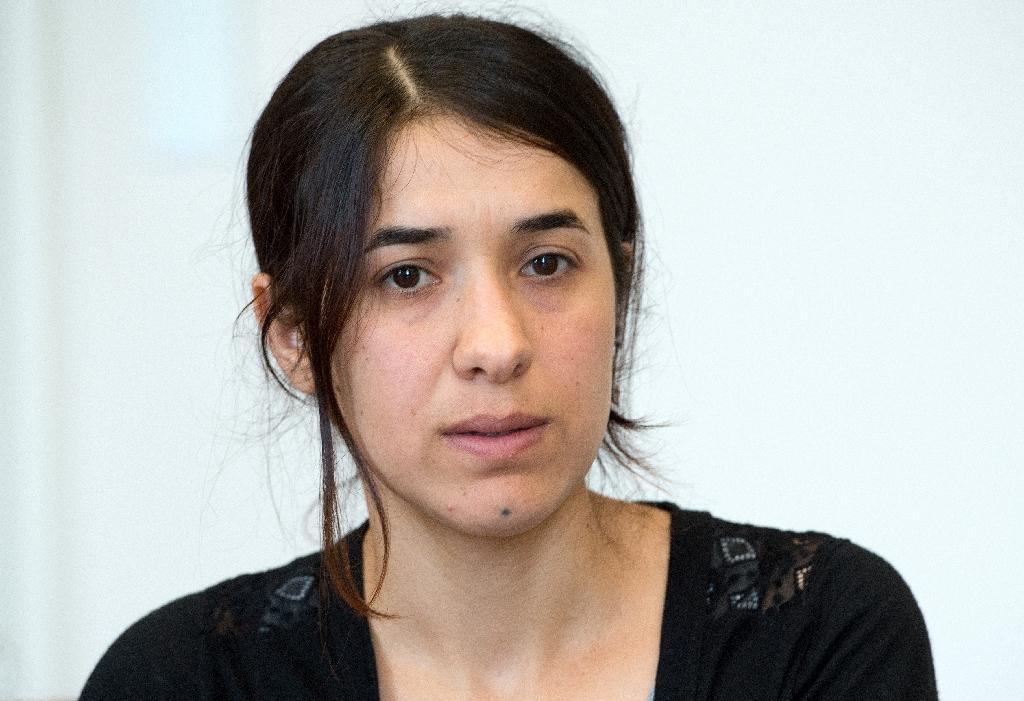 Former Islamic State group (IS) hostage Nadia Murad gives an interview in Stuttgart, southern Germany on September 12, 2016 (AFP Photo/Bernd Weissbrod)