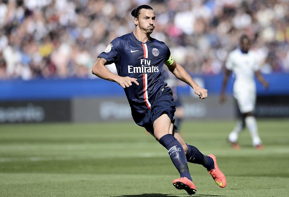 Paris Saint-Germain forward Zlatan Ibrahimovic pictured during the French L1 match against Bastia at the Parc des Princes stadium in Paris on August 16, 2014