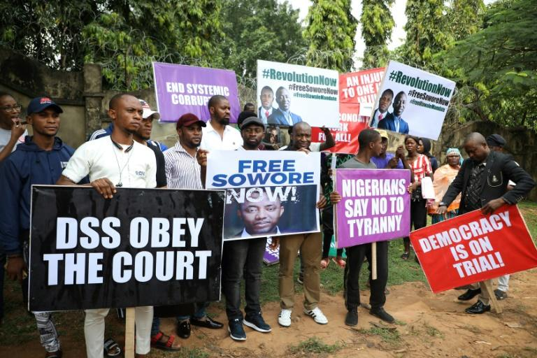 Sowore's supporters reacted angrily after he was re-arrested just a day after a court freed him (AFP Photo/Kola Sulaimon)