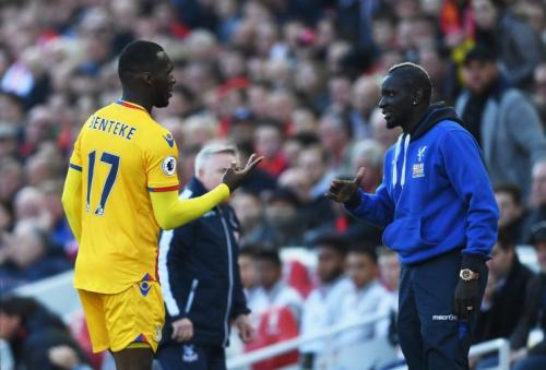 Christian Benteke celebrates with Mamadou Sakho