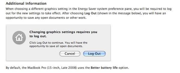 MacBook Pro requires logout to switch graphics modes