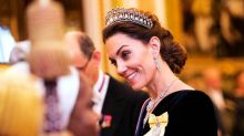 Duchess of Cambridge wears velvet McQueen and Diana's tiara at royal reception