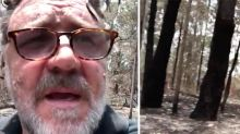 'Absolutely f***ing smashed': Russell Crowe shares footage from his fire-damaged property