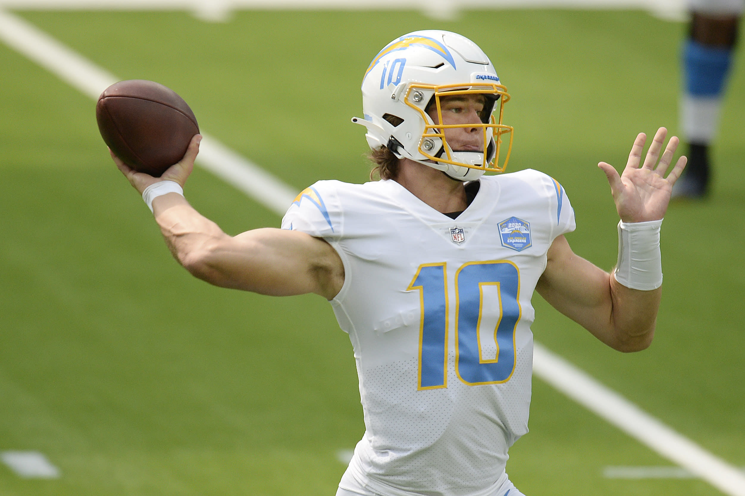 Los Angeles Chargers quarterback Justin Herbert throws against the Kansas City Chiefs during the first half of an NFL football game Sunday, Sept. 20, 2020, in Inglewood, Calif. (AP Photo/Kyusung Gong)