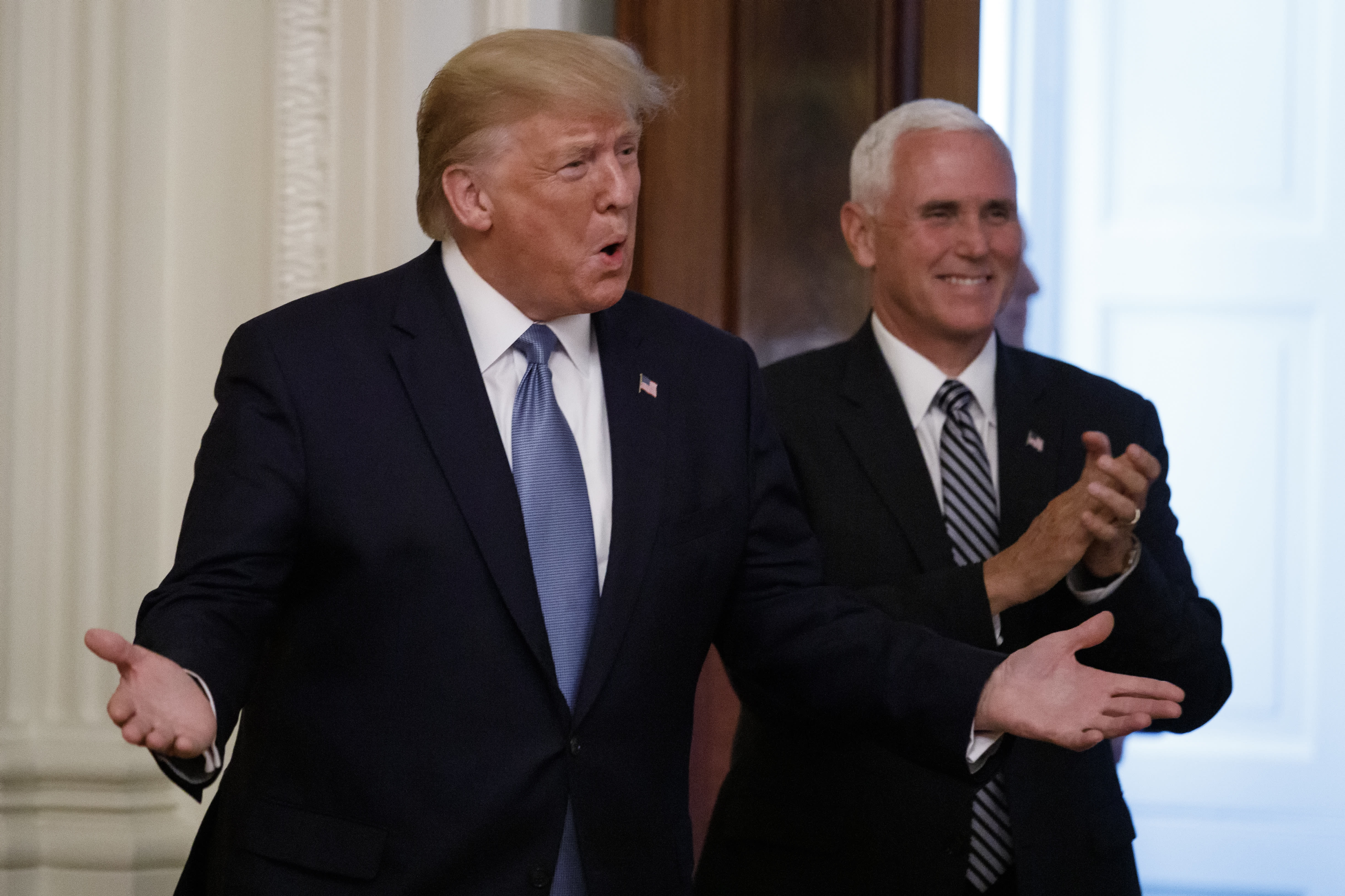 President Donald Trump, and Vice President Mike Pence arrive to at the Young Black Leadership Summit at the White House in Washington, Friday, Oct. 4, 2019. (AP Photo/Carolyn Kaster)